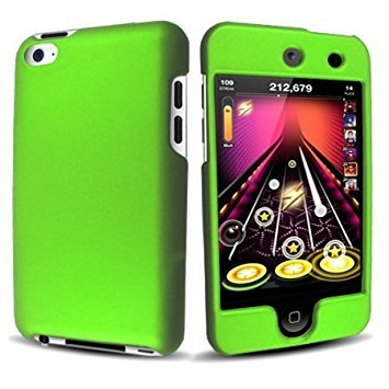 Premium Rubberized Snap-on Hard Crystal Front and Rear Case Cover for Apple iPod Touch 4G, 4th Generation, 4th Gen - Green compatible with 8GB / 32GB / 64GB