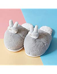 ZYGAJ Cotton Slippers Women's Winter Indoor Home Anti-SkidWarm Thick Bottom Couple MenCute Cartoon Guest Slippers