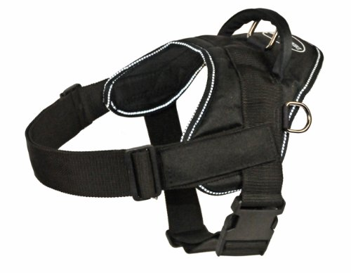 DT Fun Harness, Clear Patches, Black With Reflective Trim, Large - Fits Girth Size: 32-Inch to 42-Inch