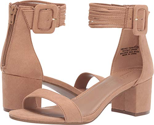 - Aerosoles Women's Martha Stewart MID Year Heeled Sandal, Tan Fabric, 8.5 M US