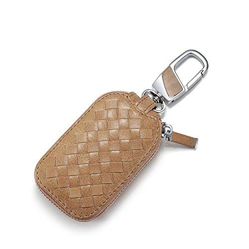 Key chain Car Genuine Leather Key Case Smart Coin Pack Metal Hook Zipper Bag Car Remote Key Holder (Halloween Texture Pack)