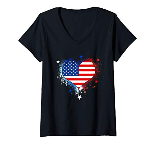 Womens USA Flag Heart T Shirt 4th July Red White Blue Stars Stripes V-Neck T-Shirt
