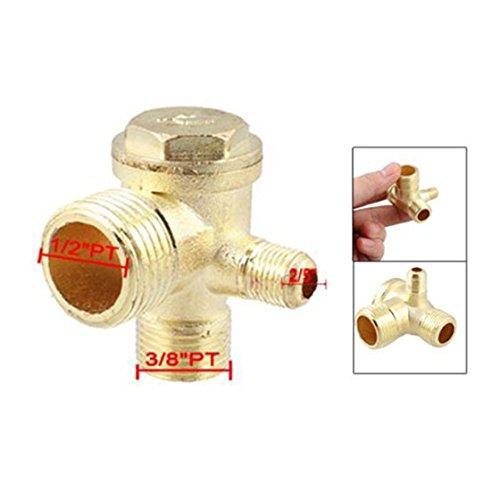 ACAMPTAR 2//5 pulgada 3//8 pulgada PT 1//2 pulgada PT Macho Roscado Valvula de retencion de compresor de aire de metal de 3 vias Tono de oro