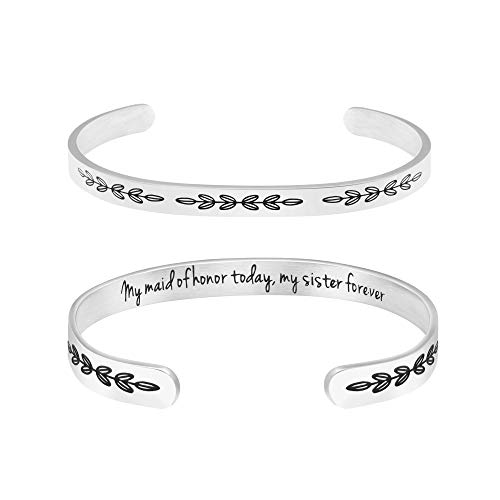 My Maid of Honor Today My Sister Forever Gift for Best Friend Cuff Bangle Sisters Friendship Gifts Women Girl Jewelry