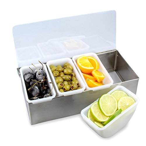 TrueCraftware - 4 Compartment Stainless Steel Condiment Dispenser in Satin Finish and with Plastic Inserts and Clear Acrylic Cover