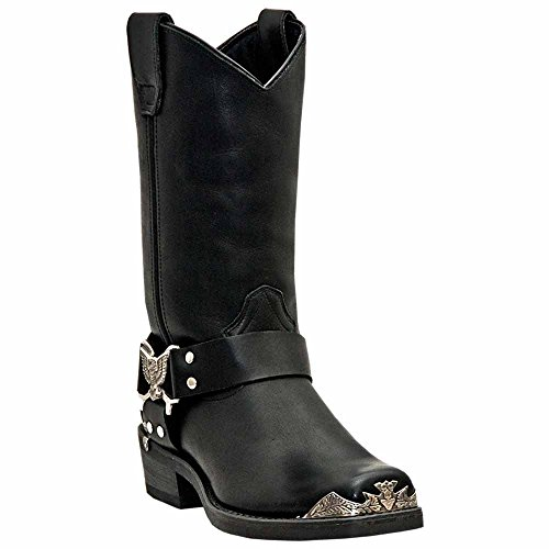 Dingo Mens Black Leather Chopper 12in Harness Snoot Toe Cowboy Boots 12 EW