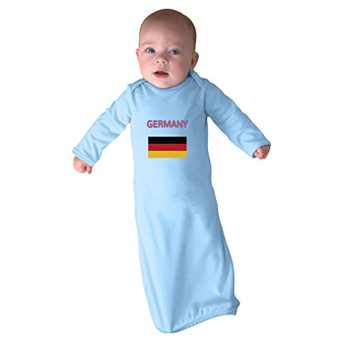 Cute Rascals Love Heart Germany Soccer Ball Soccer Infant Baby Combed Ring-Spun Cotton Sleeping Gown - Light Blue, Gown Only by Cute Rascals