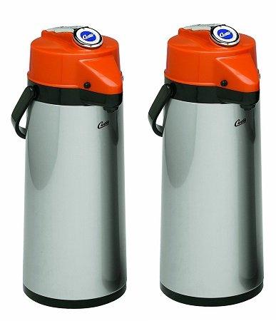 Wilbur Curtis Thermal Dispenser Air Pot, 2.2L S.S. Body Glass Liner Lever Pump, Decaf - Commercial Airpot Pourpot Beverage Dispenser - TLXA2201G000D (Each) (2-Pack)