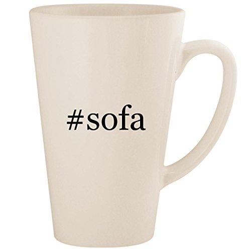 (#sofa - White Hashtag 17oz Ceramic Latte Mug Cup)