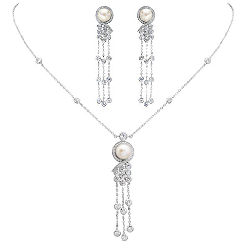 EleQueen 925 Sterling Silver CZ AAA Button Cream Freshwater Cultured Pearl Victorian Style Long Tassel Bridal Necklace Earrings Set ()