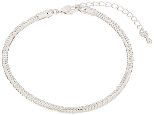 - Darice 7-1/2-Inch Sterling Silver Plated Snake Chain Bracelet, 2-Piece
