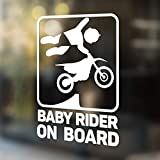 Babycalla Baby on Board Signs for Car Windows Sticker White Vinyl Boy and Girl (New Motocross Rider Design 2019) 34 Variations