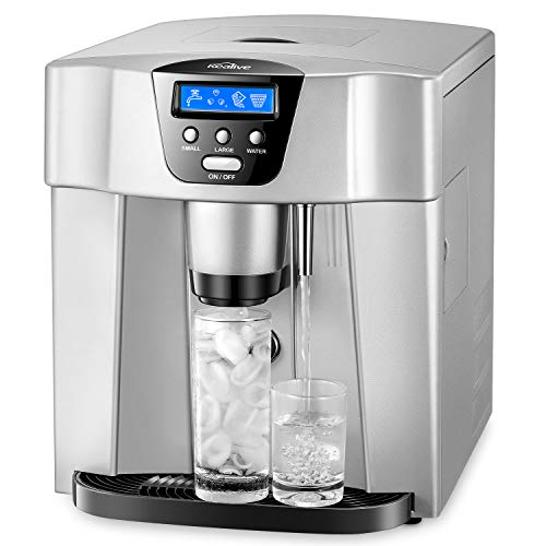 Countertop Ice Machine, Kealive Portable Ice Maker, Ice Cube Maker, Makes 33lbs per 24 hrs, Ice Cubes Ready in 8-12 Minutes, LED Display & Ice Scoop & Filling Water Pipe, Sliver
