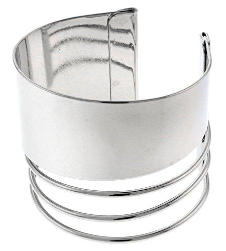 Silver-Tone Polished Metal Cuff bracelet ()