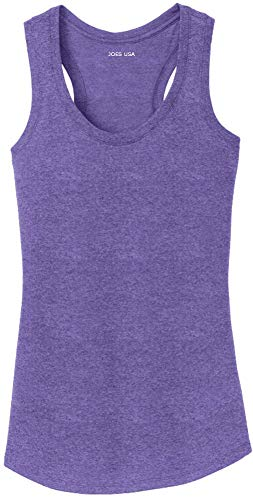 (Joe's USA Ladies Tri-Blend Racerback Tank Top-Purple-XS )