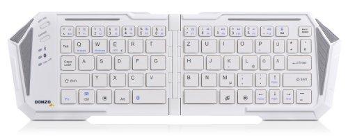 DONZO® IBK-03 faltbare UNIVERSAL mini BT v3.0 Bluetooth Tastatur (deutsches Tastaturlayout, QWERTZ) Keyboard (HID) geeignet für Smartphone | Smart TV | Laptop / PC | fast alle Geräte und Handys! - weiß