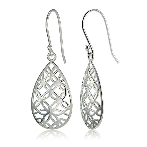 Sterling Silver Filigree Floral Design Teardrop Earrings