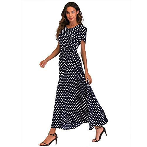 Mikilon Women Casual Boho Summer Maxi Dresses Polka Dot Short Sleeve Swing Dress with Belt Navy