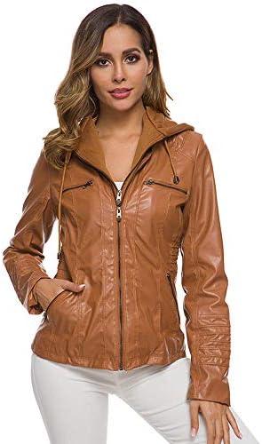 fangfaner Détachable à capuche fermeture éclair à manches longues couleur unie veste en cuir pour femmes veste-marron_L