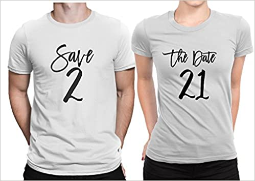 1088f4cbe3 Save The Date Wedding Announce Ment Couple Matching T-shirt Set Bride &  Groom Men Small / Women Small | White - White Apparel
