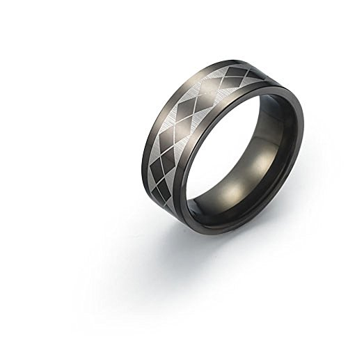 8mm Black Titanium Ring for Men Cross Diamond Pattern Design Comfort Fit SZ 9-12 Free Engraving Service