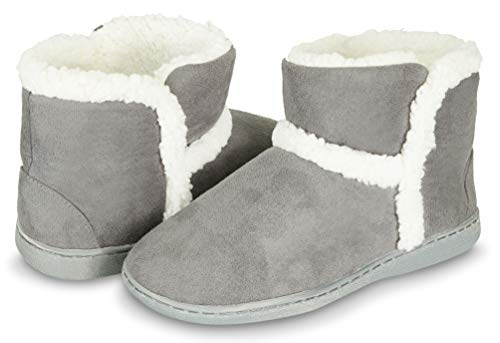 Outdoor Bootie Slipper - Sherpa Fur Lined Clog W/Memory Foam (L, Grey-201) ()