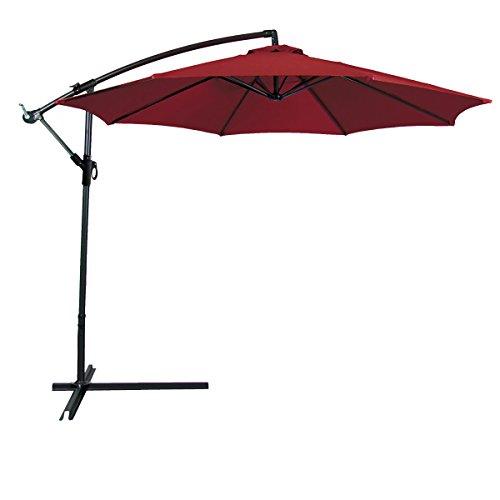 Odaof 10 ft Patio Umbrella Offset Hanging Umbrella Outdoor Market Umbrella Garden Umbrella, Polyester, Burgundy