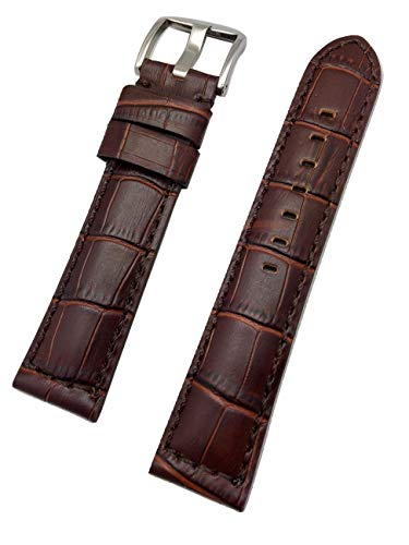 - 22mm Long, Brown Panerai Style, Sporty Genuine Leather Watch Band | Alligator Crocodile Grained Medium Padded Replacement Wrist Strap Bracelet That Brings New Life to Any Watch (Mens Long Length)
