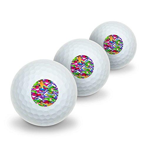 Golf Hummingbird (Graphics and More Hummingbird Colorful Pattern Novelty Golf Balls 3 Pack)
