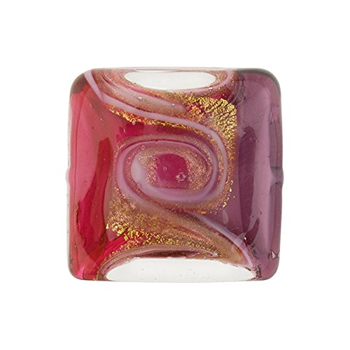 Pink and Purple with Aventurina and 24kt Gold Foil Mare Square 18mm Murano Glass Bead Handmade Lampwork ()