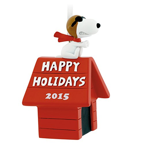 (Hallmark Peanuts Snoopy Flying Ace on Doghouse Happy Holidays Christmas Ornament)