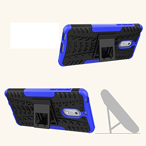 Nokia 6 Case, Skmy Shockproof Impact Protection Tough Rugged Dual Layer Protective Case Cover with Kickstand for Nokia 6 (Blue) by Skmy (Image #3)