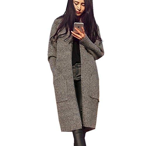 (ヨジャプ)YOJAP レディース 長袖 韓国ファッション ポケット付き ケーブル編みニット あったか クラシック カーディガン セーターコート ロングセーター 厚手 カレッジ風 シンプル レジャー 無地 秋冬春 選べる3色