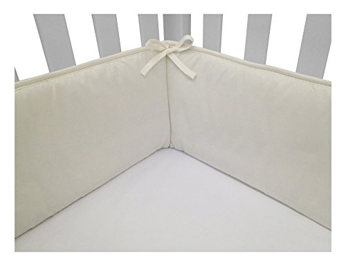 Solid Crib Bumper - American Baby Company Cotton Percale Crib Bumper, Ecru, for Boys and Girls