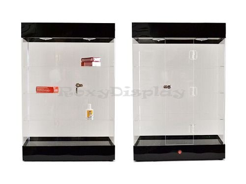 ROXY DISPLAY AD-F6804 Acrylic Display Tower Case with Built in LED Lights at Top and Door Lock (Black/Silver)