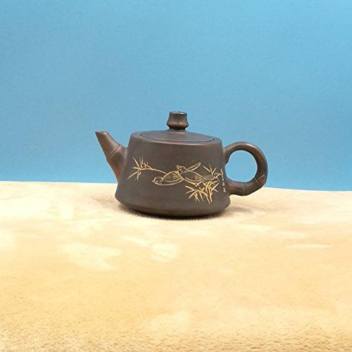 Lmitation bamboo bird pot chinese nixing pottery jugs pure hand carving craft master make Small capacity teapot 160ML (Wholesale Miniature Tea Sets)
