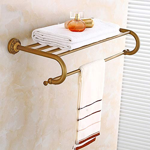 GTTBS European Retro Bathroom Towel Rack Set, Bathroom Fine Copper Activity Towel Bar Soap Dish Hair Dryer Bracket Wall Mounted 6 Piece Combination by GTTBS (Image #1)
