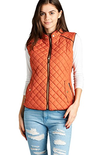 Active USA Quilted Padding Vest With Suede Piping Details (Rust-Small)