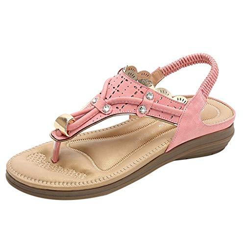 iYBUIA Rhinestone Sandals for Women | Soft,Open Toe, Wide Elastic Design, Summer Sandals| Comfy, Slippers Shoes Pink