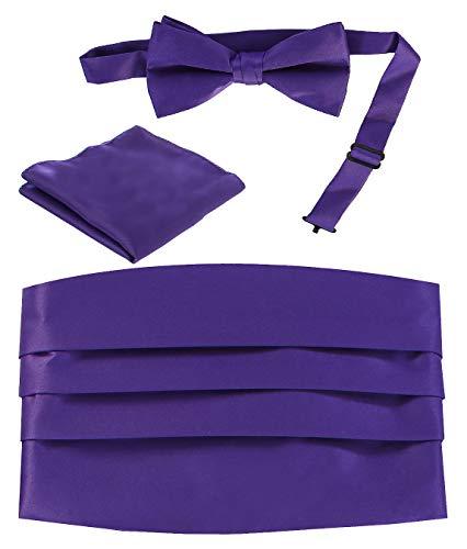 Cummerbund Mens Purple - Gioberti Men's Adjustable Satin Cummerbund Set With Formal Bow Tie and Pocket Square, Purple