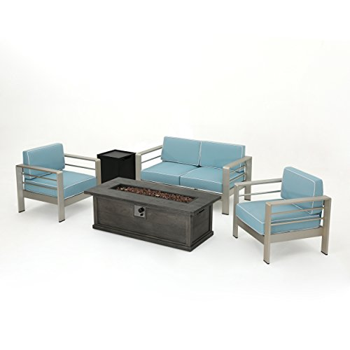 Crested Bay 5 Piece Silver Aluminum Framed Chat Set with Light Teal and White Corded Water Resistant Cushions and Grey Wood Finished Rectangular Fire Pit