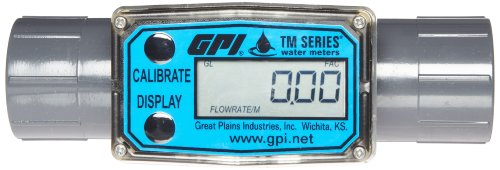 FLOMEC TM100-N, PVC Turbine Flowmeter for Use with Water & Mild Chemicals, 1-Inch FNPT Fitting, 5-50 GPM, LCD Display, +/-3 Percent Accuracy, Durable Schedule 80 ()