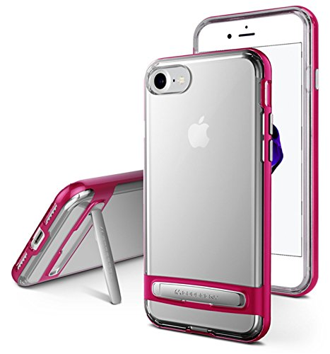 Funda iPhone 7, iPhone 8 [Ultra Slim] GOOSPERY Hybrid Dream Bumper Case [Kickstand] Impacto resistente [Air Pocket Corner Protection] TPU + PC [Dual Layer] Funda para iPhone 7, iPhone 8, Transparente  Rosa caliente