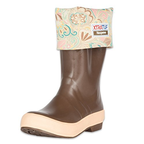 Legacy Neoprene Boot (XTRATUF Legacy Series 15 Floral Print-Lined Neoprene Women's Fishing Boots, Copper & Tan (22812G) by Xtratuf)