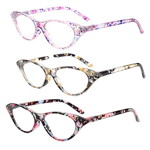 - Gudzws Cat Eye Reading Glasses Super Fashion Stylish Spring Hinges with Crystal Cateye Vintage Readers for Women Lady 3 Pack