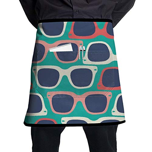 Ryplj-t Happy National Sunglasses Day! Adjustable Bib Half Apron Resistant with 1 Pockets Cooking Kitchen Aprons for Women Men ()