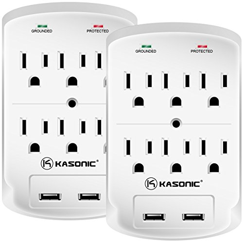 Wall-Mount Power Outlet, Kasonic 6 AC Socket Surge Protector with 2.1Amp Dual USB Charging Station; Grounding and Protection Indicator for Home, Office ETL Certified (2 Pack) -