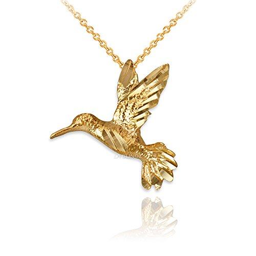 LA BLINGZ 14K Yellow Gold Flying Hummingbird DC Charm Necklace (20) ()