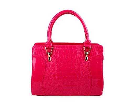 Yy.f Bolso Nuevo Bolso De La Cara Bolso Del Patrón Del Bolso De Cocodrilo Práctico Multi-color Interno Sonriendo Pink
