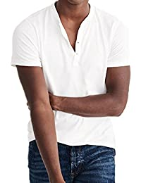 Men's Casual Short Sleeve Cotton V neck T-Shirt with Solid Color